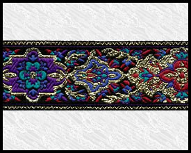 Basque, 1-1/16 inch, Black - Gold - Turquoise - Scarlet - Purple, Jacquard Ribbon Fabric Trim