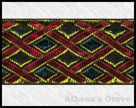 Gilded Lattice, 1-1/2 inch, Gold - Forest - Red - Black, Jacquard Ribbon Fabric Trim