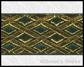 Gilded Lattice, 1-1/2 inch, Gold - Forest - Old Gold- Black, Jacquard Ribbon Fabric Trim