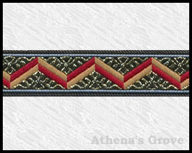 Roman Zag, 3/4 inch, Gold - Wine Red - Tan, Fabric Ribbon Trim